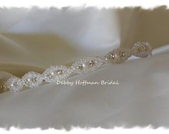 Pearl Wedding Headband, Wedding Headpiece, Thin Crystal Pearl Bridal Headband, Pearl Bridal Headpiece, Pearl Wedding Hair Piece, No. 4070PHB
