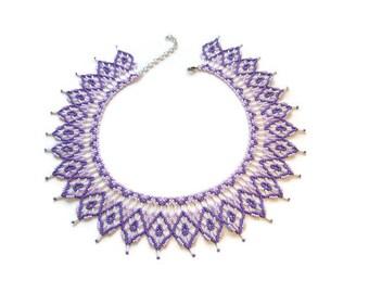 Light purple white beaded geometric necklace Violet rhombus Simple necklace Geometric jewelry Beadwork jewelry Boho necklace