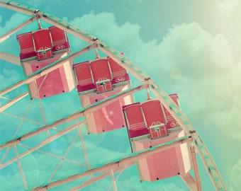 Ferris Wheel Photo, nursery wall art, carnival print, nursery decor, pastel, candy pink, shabby chic, vintage circus, aqua, dreamy, fPOE