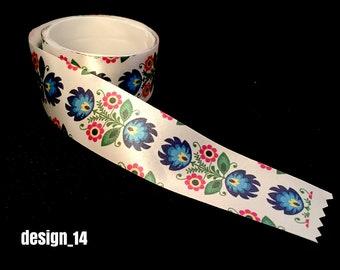 Full color printed Folk OLD Polish Satin Ribbon 25mm/1 inch width 11 yd