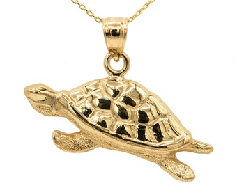 10k Yellow Gold Turtle Necklace