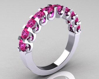 Modern Vintage 14K White Gold Pink Sapphire Designer Wedding Band R172-4-142-14KWGPS