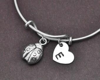 Ladybug Bangle, Sterling Silver Bangle, Ladybug Bracelet, Bridesmaid gift, Personalized Bracelet, Charm Bangle, Initial Bracelet