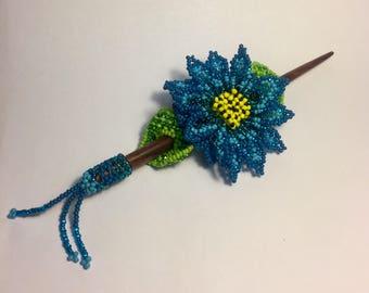 Blue Beaded Hair Stick & Slide