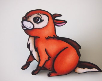 Chipmunk Laser Cut Wood Brooch