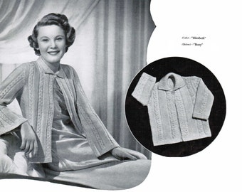 Cable with flared sleeve Women's Bed Jacket with matching baby jacket Pattern PDF / Nursing jacket knitting pattern