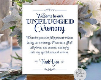 Navy Blue Printable Unplugged Ceremony Sign, Wedding Sign, Unplugged Wedding (#UN13N)