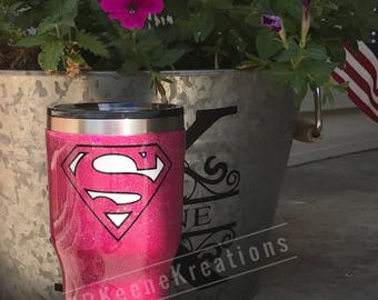 Super Woman, Super Girl Glitter Tumbler, Stainless Steel Tumbler, Ozark Mountain, Ozark Trail Personalized Tumbler