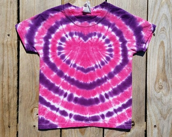 Purple and Pink Heart Tie Dye T-Shirt, Women's Tie Dye Shirt, S M L XL XXL, Short Sleeve Top, Valentine's Day Shirt
