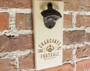 Crabcakes and Football, Maryland, Wall Mounted Bottle Opener, Magnetic