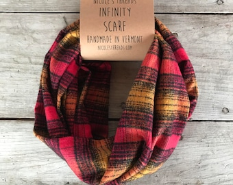 Maroon + Gold Plaid Flannel Infinity Scarf - Plaid - Flannel - Oversized - Warm - Winter- Cozy - Unisex - Gray
