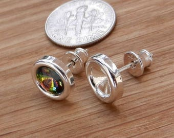 Hight Quality, Sterling Silver, Ear Posts, with, Ear nuts, Earrings, for,Crystal Swarovski, Rivoli, 1122, SS 29, 6.2mm, Findings