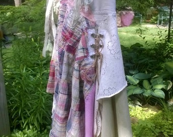 Boho skirt, fairy skirt, art skirt, hippie  skirt, upcycled skirt, tattered skirt, lace skirt, mori girl skirt, jean skirt, altered couture