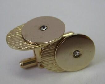 Gold Rhinestone Cuff Links Modern Vintage