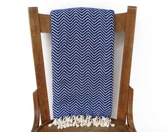 Werfen Sie Decke Pestemal Couch werfen Sofa Throw türkische Handtuch Tagesdecke handgewebte Baumwolle türkisches Bad Handtuch Spa Fouta Handtuch BLAU CHEVRON LALE