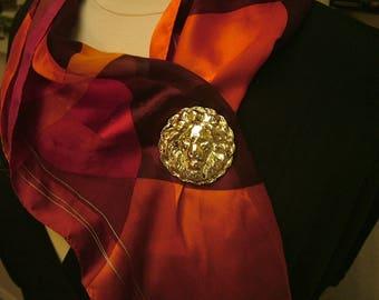 Vintage 1960's Gold Lion Head Large Brooch