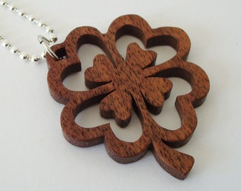 Four Leaf Clover Shamrock Necklace St. Patrick's Day Ireland Walnut Hand Cut Scroll Saw Pendant