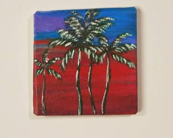 Palm Tree Acrylic painting magnet