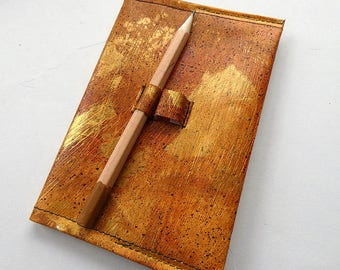 Recycled A6 PVC note book cover and note book, handmade, leather look, refillable, includes quality starter note book, pencil loops