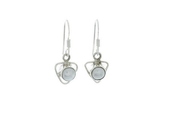 Sterling Silver Pearl Earrings, Ethnic Earrings, 925 Sterling Silver, Fresh Water Pearl