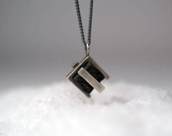 Double Silver Square Lava-Lava-Cube Stone-Industrial Design-Cool Necklace-MJ