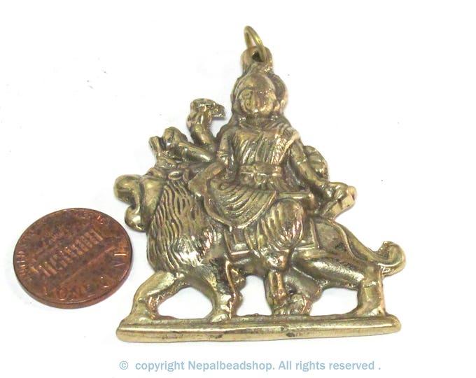 1 Pendant - Large size Hindu Goddess revered Durga Maa Sherawali Brass amulet pendant - CP129