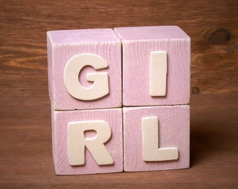 Handmade Shabby Chic Wooden Alphabet Blocks