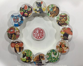 Chinese Zodiac Magnets, 1.5 inch Round Glass Magnets, Set of 4