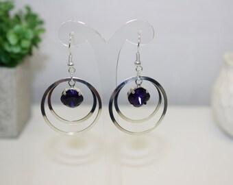 Genuine Swarovski Purple Velvet Crystal Silver Plated Round Dangle Earrings