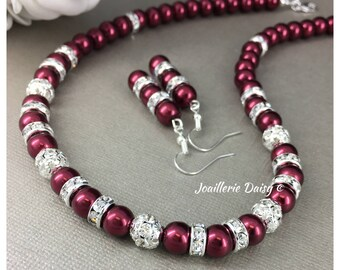 Bridesmaid Gift for Her Burgundy Jewelry Set Burgundy Necklace Burgundy Bracelet Pearl Jewelry Mother Gift Christmas Jewelry Red Bracelet
