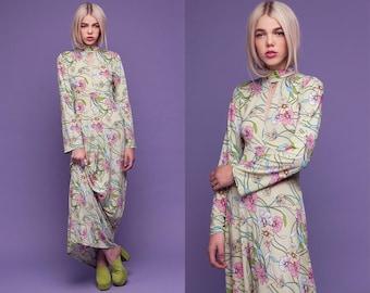 Mint Floral Keyhole Turtle Neck Maxi Dress XS S M L XL XXL
