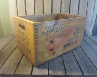 Antique Soda Crate, Whistle Soda Crate New Bedford Massachusetts