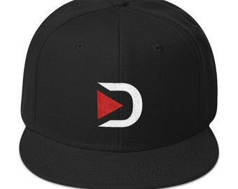 DTube DLOGO Snapback Hat / Steemit Steem D Tube Social Media Vlogger Vlog Blog Blogger / Cryptocurrency Crypto Bitcoin Litecoin Ethereum