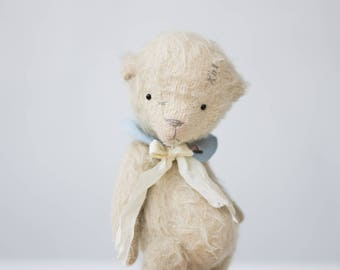 Made To Order Mohair Teddy Bear 7 Inches Stuffed Animal Silk Ribbon Embroidered Collar Plush Toy Handmade Toy Soft Toys Personalized Gift