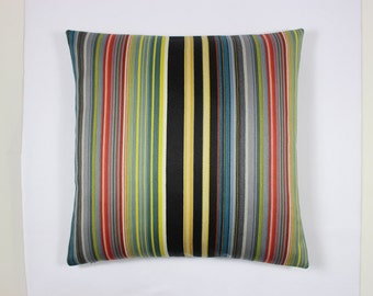 """Reverberating Stripes fabric designed by Paul Smith for Maharam - 17"""" x 17"""" modern pillow with feather insert. Decorative pillow."""