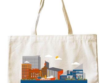 City Living Tote bag - Baltimore - Maryland - Market bag - Reusable bag - Canvas tote - Shopping bag - Shoulder bag - Organic