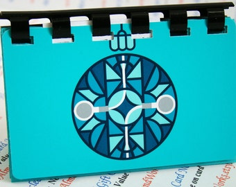 iTunes Aqua Color -- upCycled giftCard Notebook  ---  no value on card