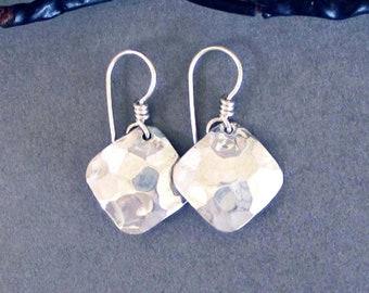 Hammered Aluminum Small Square Earrings Minimalist Silver Tone Dangle Earrings Handmade Modern Metal Jewelry 10th Anniversary Gift
