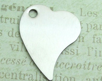 Silver Heart Pendant, Stampable Heart - Stainless Steel Heart Disc, Set of 2 SST Findings 28x21x1mm heart charm - Heart Pendant  (044 )