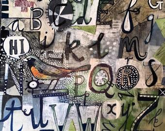Alphabet with bird an archival quality giclee print of an Este MacLeod painting.