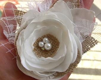 Rustic Hair Clip - White Rustic Wedding - Burlap Hair Flower - Burlap and Lace Hairpiece - Bridal Hair Clip - Rustic Accessories