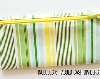 Divided cash wallet in yellow, green, aqua stripe laminated cotton