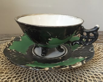 Vintage Unique RW Bavarian Feinsilber Distressed Tea Cup and Saucer Germany Rudolf Wachter