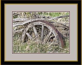 The Old Wagon Wheel, Original Fine Art Photography, matt and framed