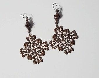 Bronze Square Dangle Earrings
