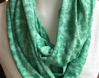 Green burnout infinity scarf!  St. Patrick's Day.  Soft green jersey knit scarf!  Jersey scarf.  Green scarf.