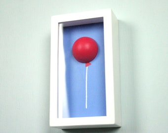Shadowbox Painting - Red Helium Balloon on Blue Sky