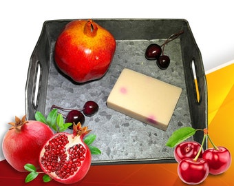 Cherry Soap - Pomegranate Soap - Tangerine Soap - Fruity Soap - Natural Vegan Soap - Cold Process Soap - Bar of Cherry Soap - Olive Oil Soap
