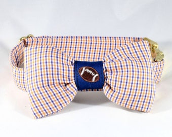 Preppy Navy and Orange Gingham Game Day Dog Bow Tie Collar, Auburn University Tigers Football
