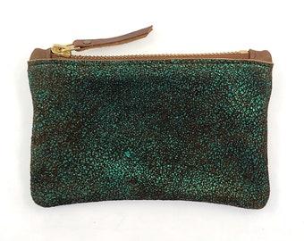 Leather Zip Wallet (green metallic OR blue metallic)